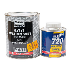 Грунт - изолятор BODY P411 Wet on Wet 4+1 Grey с отвердителем BODY H720, уп. 1+0,25 л